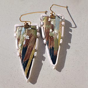 Athena Series Polymer Clay Shield Dangle Earrings