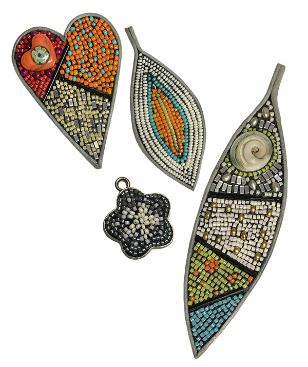 Beaded Mosaic Workshop, process examples