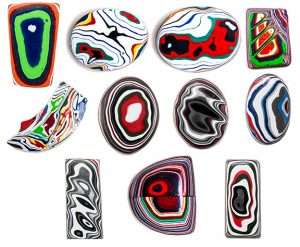 2Roses examples of carved Fordite material